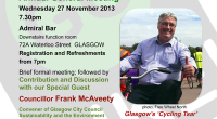 Go Bike is delighted to announce details of its Annual General Meeting, which will include a talk by Glasgow's Cycling Tsar, Frank McAveety. The meeting will take place on Wednesday […]